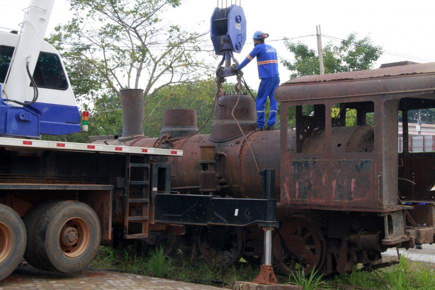 Locomotiva 6 da Madeira-Mamoré vira atração no Memorial Rondon