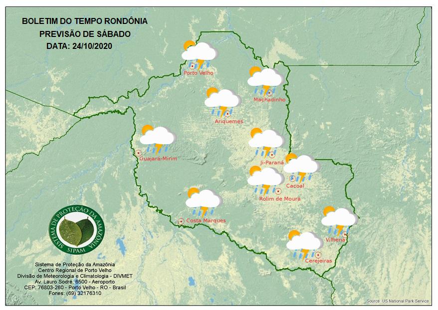 PREVISÃO DO TEMPO: Sábado pode ter chuva forte acompanhada de ventania, diz Sipam