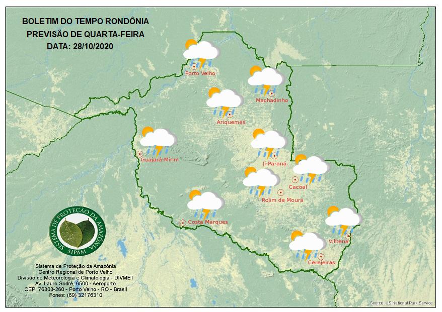 BOLETIM DO TEMPO: Veja a previsão do tempo para esta quarta-feira (28) em Rondônia