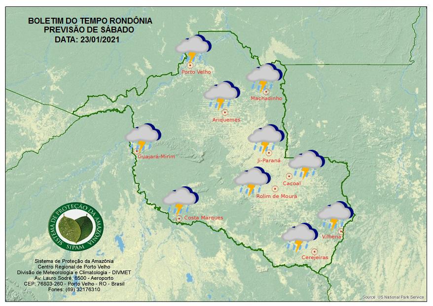 PREVISÃO DO TEMPO: Chuva deve cair a qualquer hora do dia com temporais em Rondônia